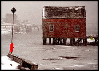 Fishing Village Snowstorm with border