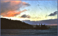 Flurry at Sunset over Shad Bay w border DSC_0879